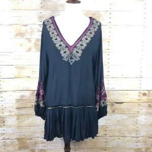 NWT Free People Wild One Embroidered Mini Dress XS